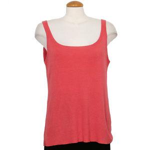 Pink Refined Hemp Knit Scoop Neck Shell Tank Top L